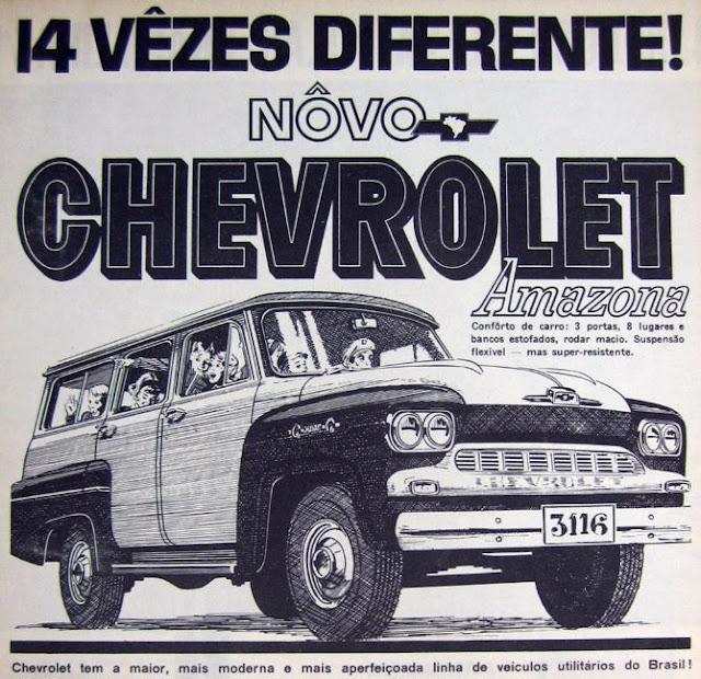 Propaganda da Chevrolet nos anos 60 para apresentar o Amazona e seus oiro confortáveis lugares