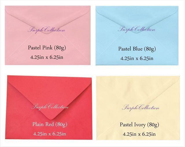 Envelope choices, pastel pink envelope, pastel blue envelope, plain red envelope, pastel ivory envelope, plain envelope 80g, red, pink, beige, ivory, purple, lilac, light blue, white, long envelope, wallet, 4.5 x 8.75 inch, kuala lumpur, selangor, malaysia, JB, johor bahru, Singapore, online purchase, buy, sale, sell
