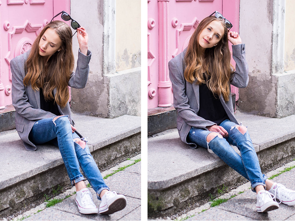 check-blazer-and-distressed-denim-outift