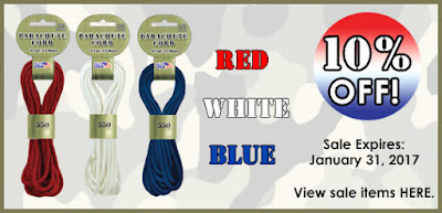 Save 10% off Red, White and Blue at ParachuteCordCraft.com