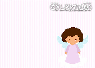 Brunette Angel Girl, Free Printable coloring book