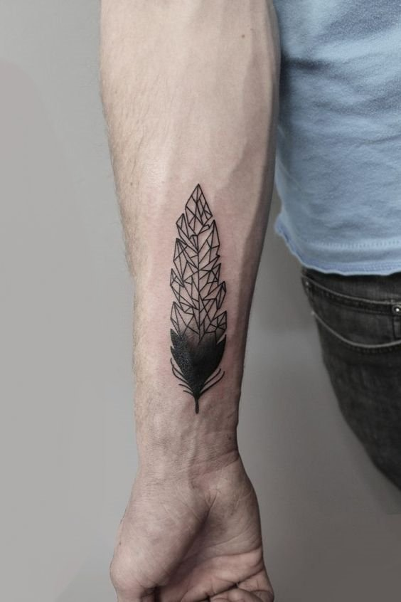 Geometric Feather Tattoo on Wrist