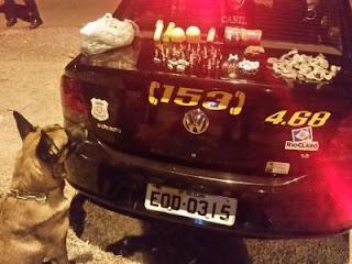 Guarda Civil de Rio Claro com auxilio da equipe do Canil apreende drogas