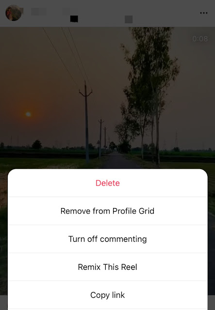 Remove reel from profile grid