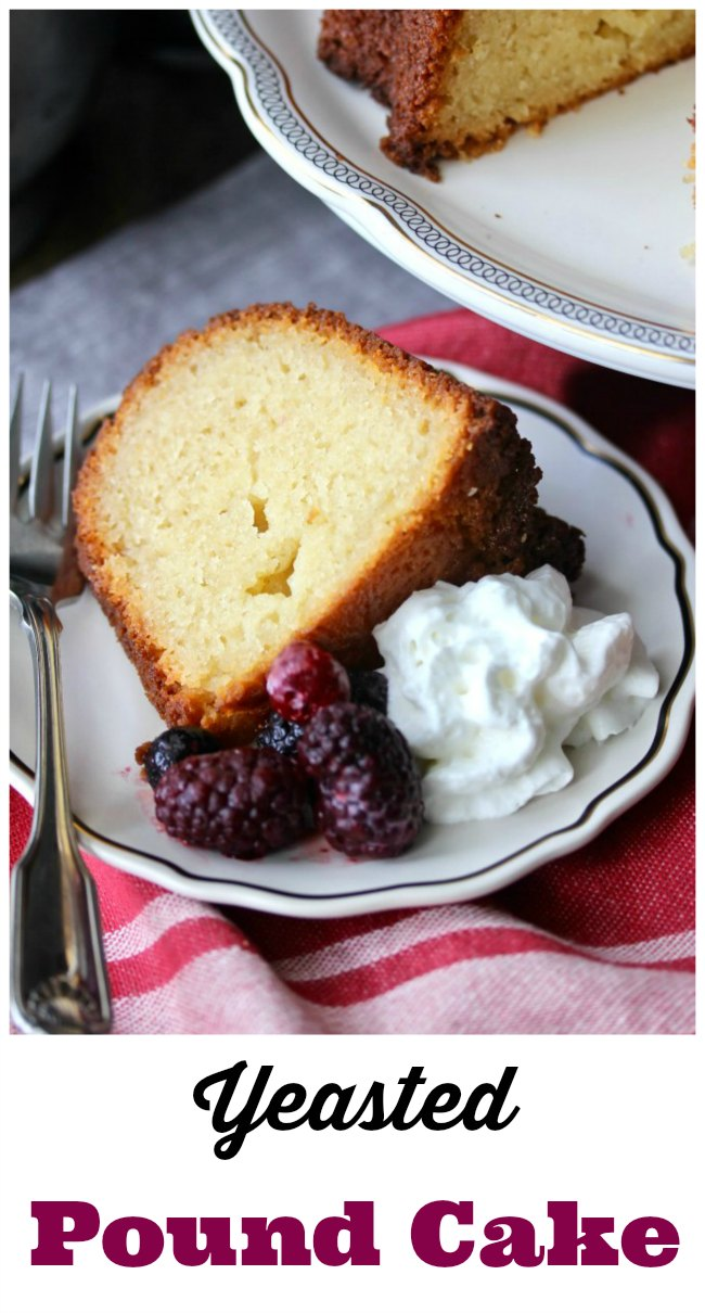 Yeasted vanilla pound cake with whipped cream