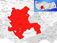 Konya ili ve ilçeleriyle birlikte çevre il ve ilçeleri de gösteren harita