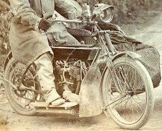 Royal Enfield and sidecar as they appeared in vintage photo.