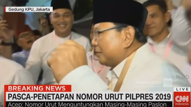 Prabowo Berjoget di Gedung KPU Usai Kantongi Nomor Urut Dua: Alhamdulillah