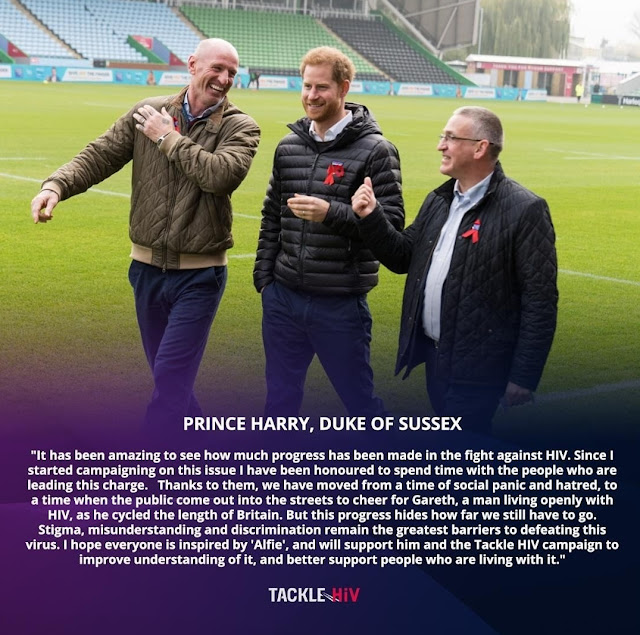 """www.kindthoughtsformeghanmarkle.com - The Duke of Sussex has reached out to his friend, Rugby legend Gareth Thomas a.k.a. """"Alfie"""" to support Gareth's newly launched Tackle HIV campaign."""