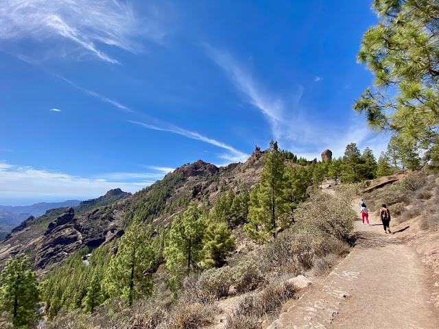 Hiking trail through the mountains and pine trees up to Roque Nublo, Gran Canaria, Spain
