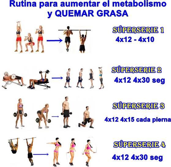 Rutina de ejercicios para quemar grasa y aumentar el metabolismo