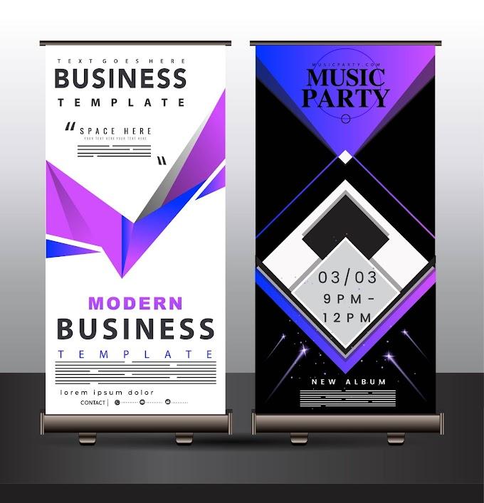 Banner templates modern technology decor vertical standee shape Free vector