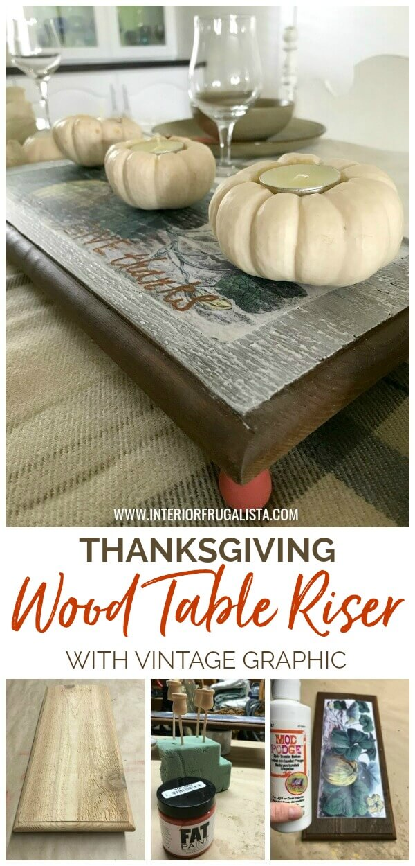 A simple wood table riser with farmhouse-style by Interior Frugalista made with scrap wood and a vintage pumpkin patch graphic for Fall decor. Without feet it's a cute Fall sign too! #farmhousetableriser #falltableriser