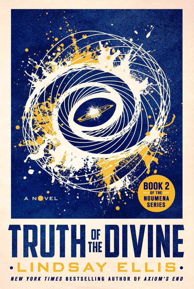 blue, yellow, and white book cover of Truth of the Divine by Lindsay Ellis