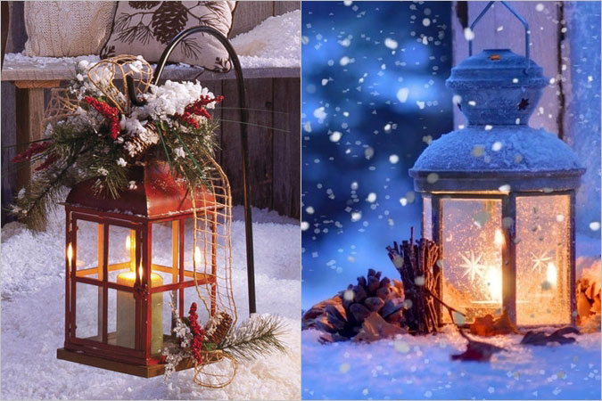 Χριστουγεννιάτικες λαμπερές ιδέες διακόσμησης με φαναράκια