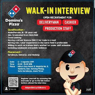Info Lowongan Kerja Domino's Pizza Surabaya Sidoarjo Malang
