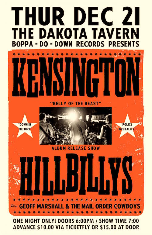 Kensington Hillbillys album release @ Dakota Tavern, December 21