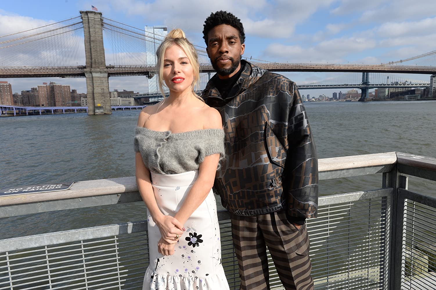 Sienna Miller and Chadwick Boseman at an event for 21 Bridges (2019)