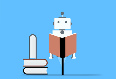 A cartoon robot sitting on a stool, reading a book. There is a stack of books on the floor to the left of the robot.