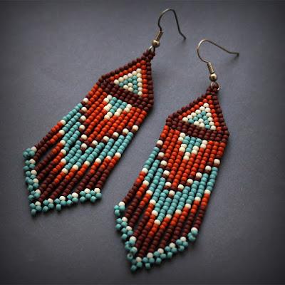 купить серьги ручной работы украшения из бисера в этно стиле россия