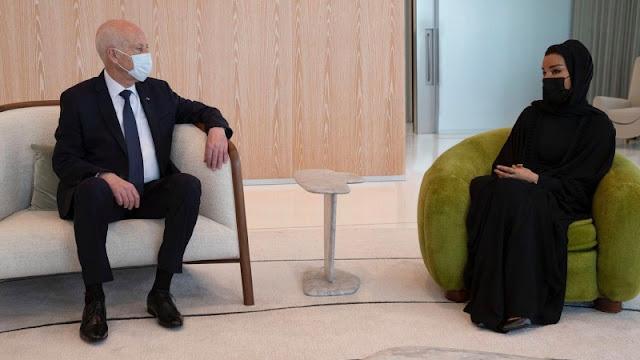 تونس : رئيس الجمهورية قيس سعيد يلتقي الشيخة موزا في قطر