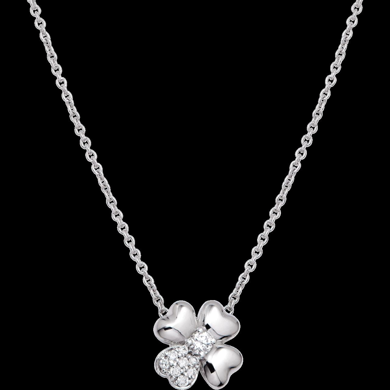 Dây cổ Kim cương Vàng trắng 14K PNJ First Diamond DDDDW000073