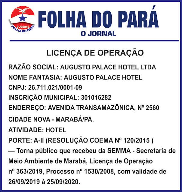 LICENÇA DE OPERAÇÃO - AUGUSTO PALACE HOTEL -- MARABÁ/PARÁ
