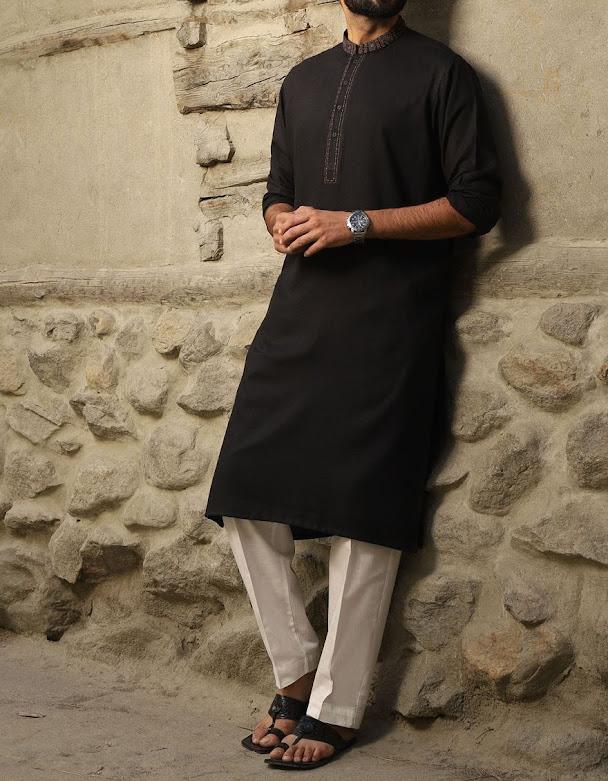 J. Junaid Jamshed winter collection Black color kurta