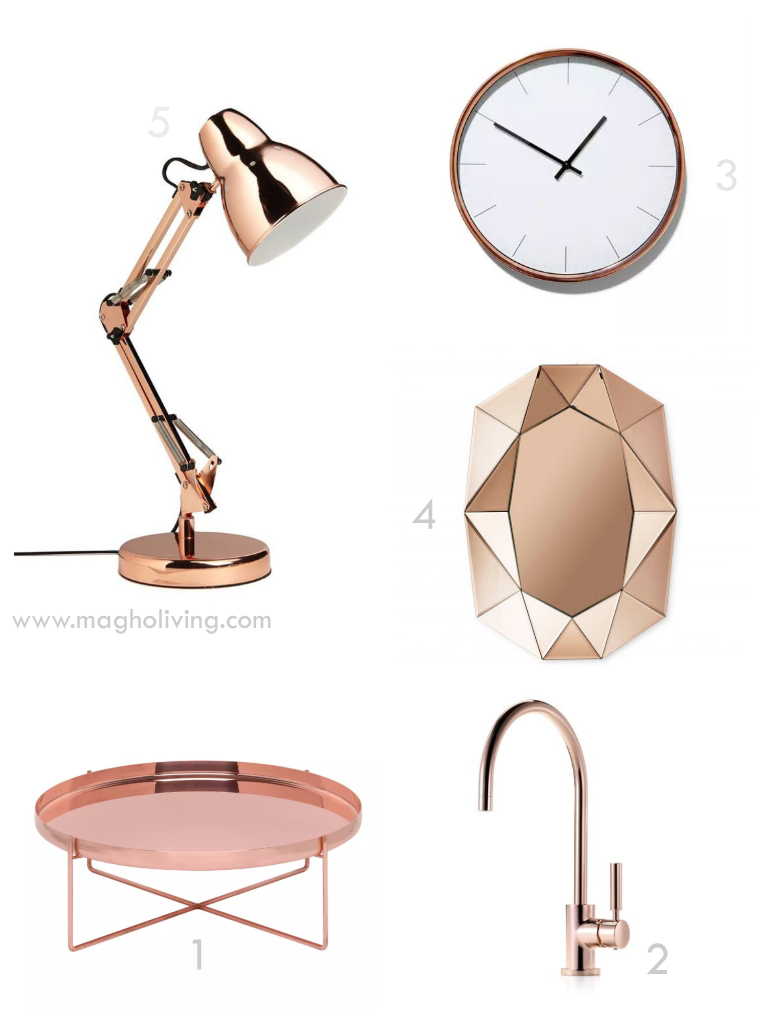 Rosegold and copper magho living interior design blog for Decoration murale rose gold