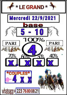 Pronostic quinté+ pmu Mercredi Paris-100 % 22/09/2021