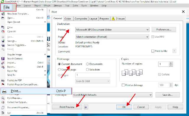 Download Brosur CDR: Membuat Brosur Dengan CorelDraw 2 Lipat Biru
