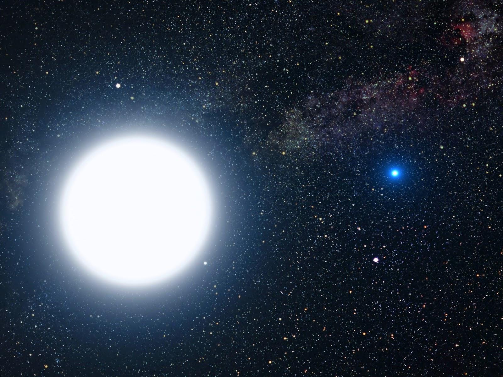 Sirius  A (putih) dan B (biru)