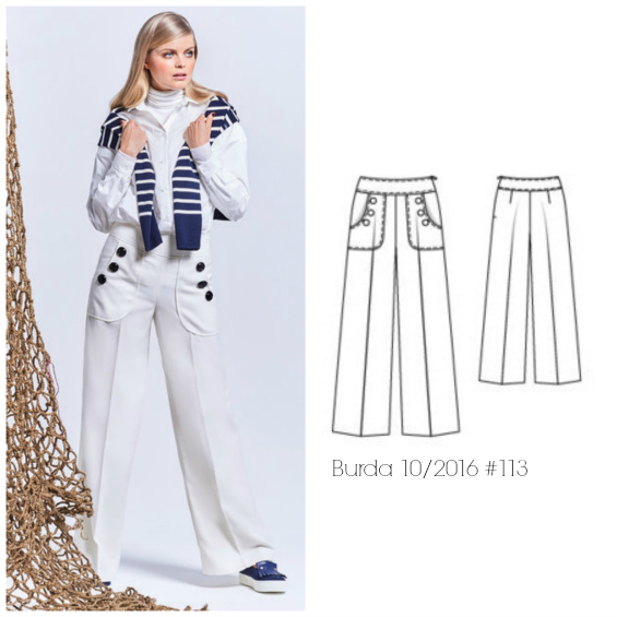Burda 10/2016 #113 wide leg pants