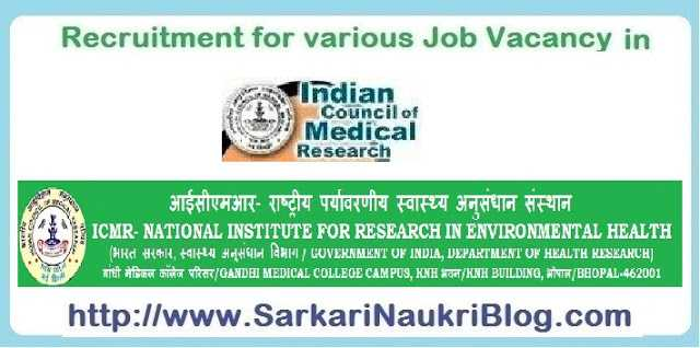 Naukri Vacancy Recruitment NIREH Bhopal