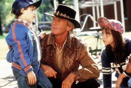 Mick Dundee with children in Crocodile Dundee II