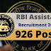RBI Assistant Recruitment 2020 – Apply Online for 926 Vacancy/'free job alerts'