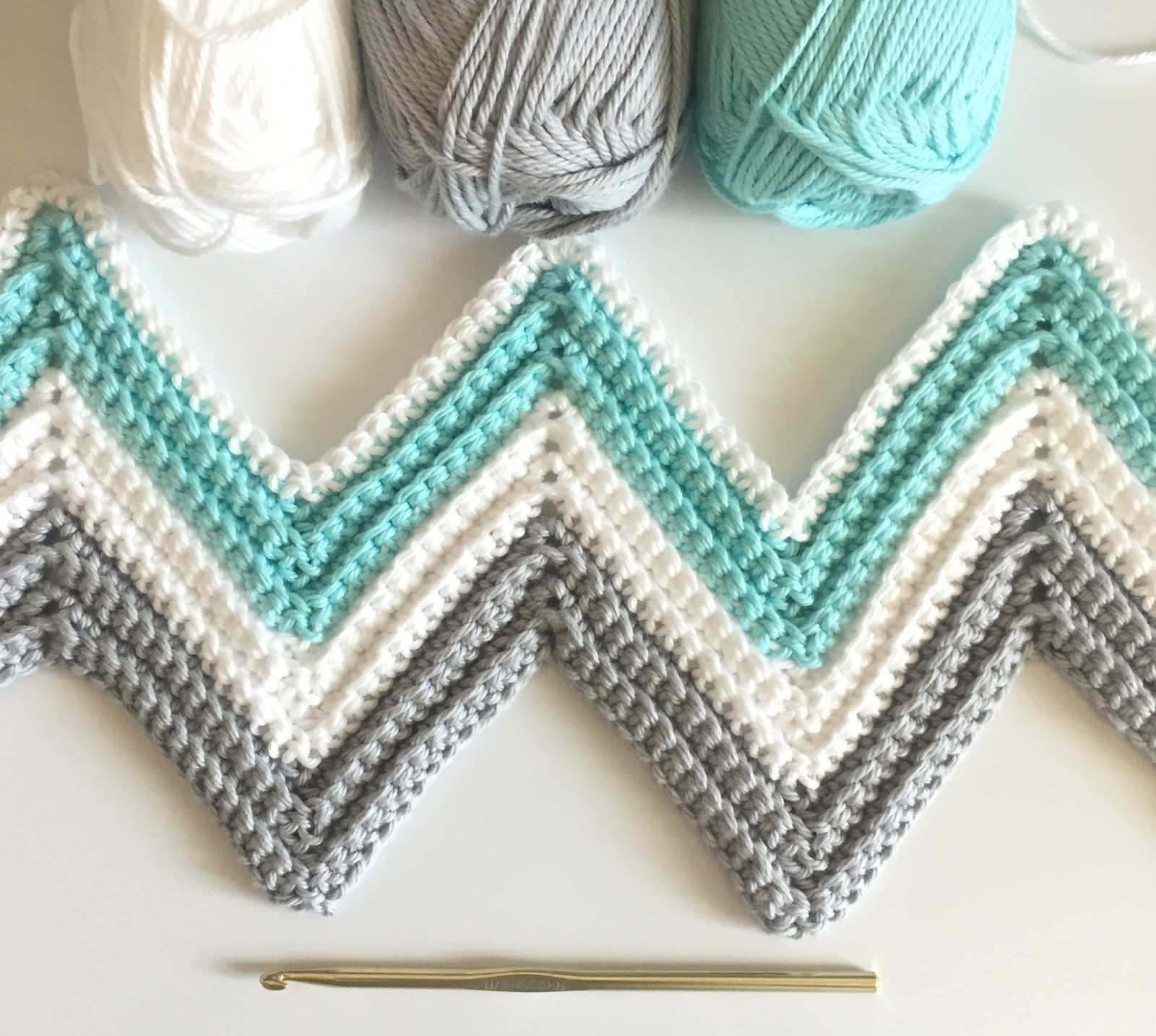 Single Crochet Chevron Blanket In Mint Gray And White Daisy Farm