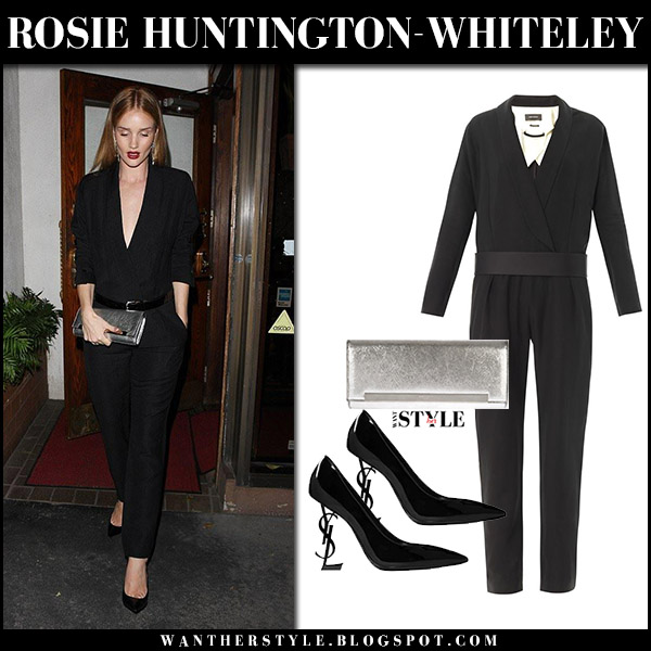 Rosie Huntington-Whiteley in black long sleeve jumpsuit isabel marant ofira date night style december 13