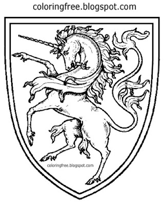 British monarch royal shield land of mystical creature unicorn medieval coloring page for teenagers