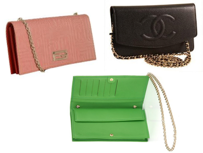 Clockwise from Left to Right: Fendi and Chanel WOCs, and interior detail view of WOC