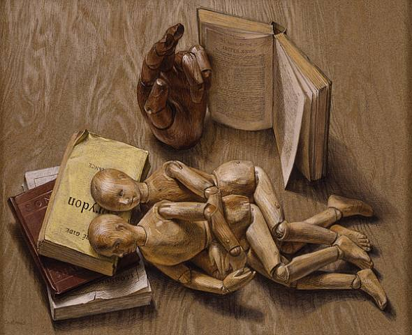 Manikins (1951)  Paul Cadmus (American, 1904-1999)  Egg tempera on paper  13 x 16 in.  Private Collection