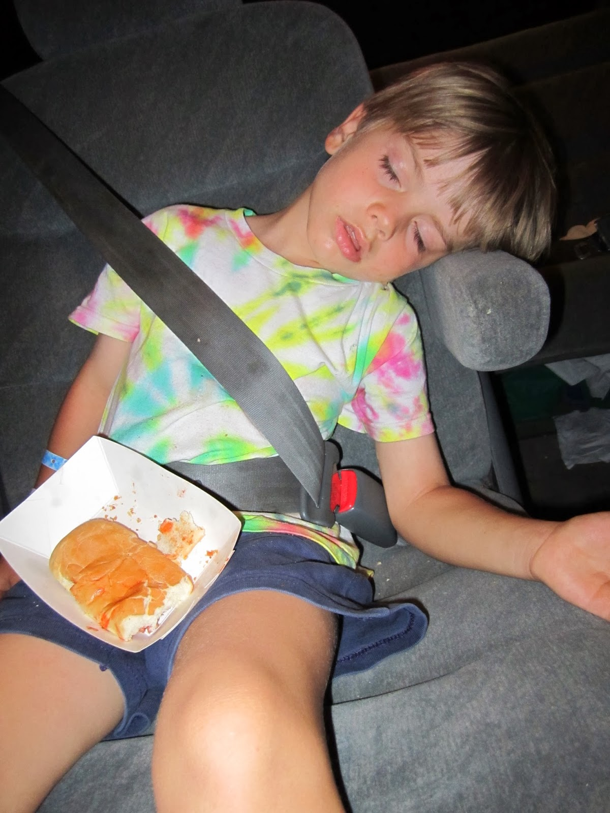 sleeping boy in car
