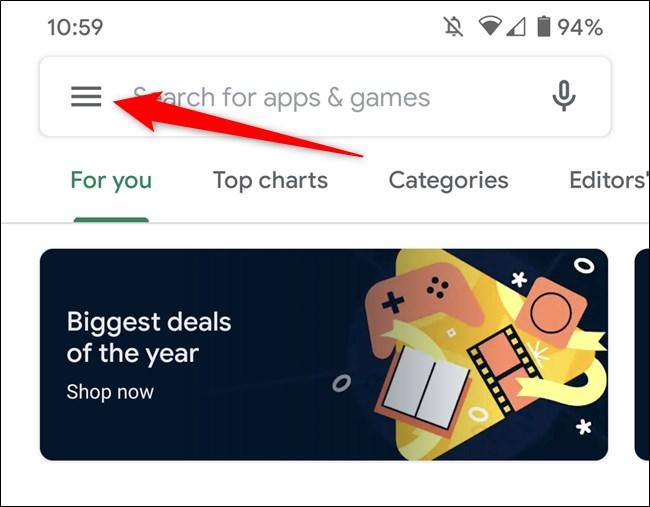 متجر Google Play ، انقر فوق رمز قائمة الهامبرغر