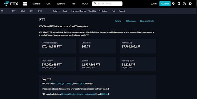 Screenshot Website FTX Token (FTT) Cryptocurrency