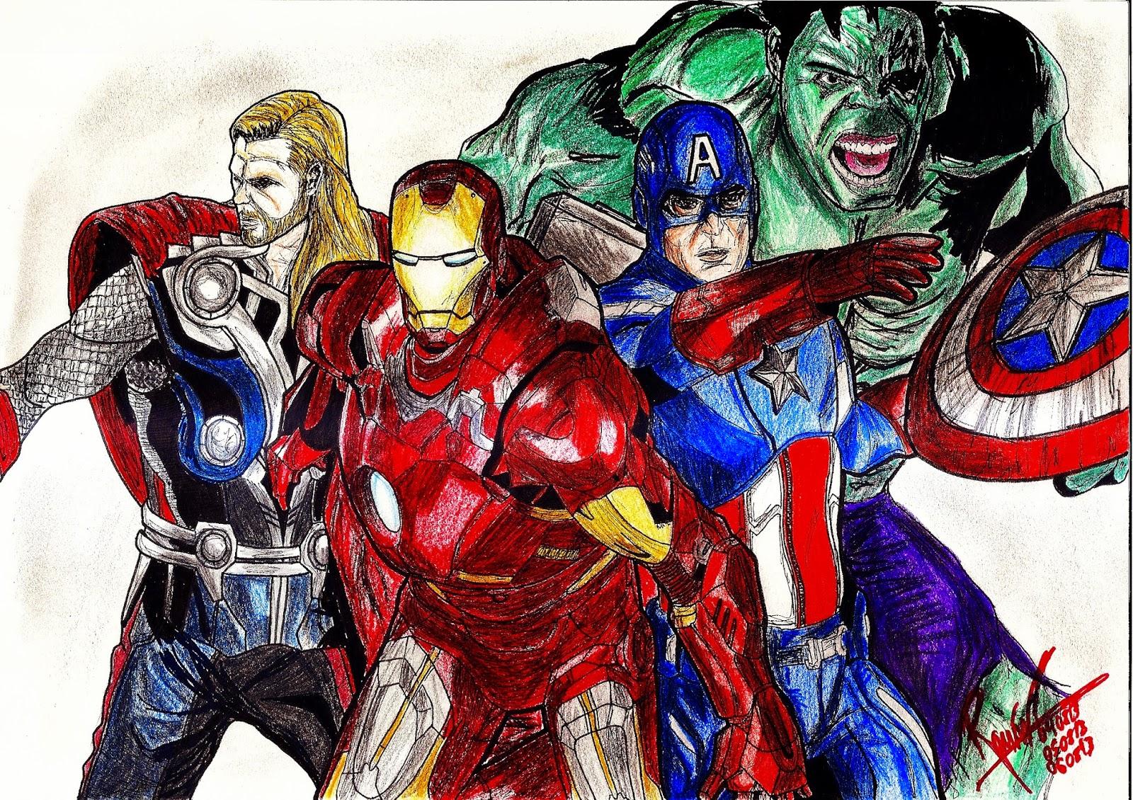 Dibujos Para Colorear De Los Vengadores Juntos
