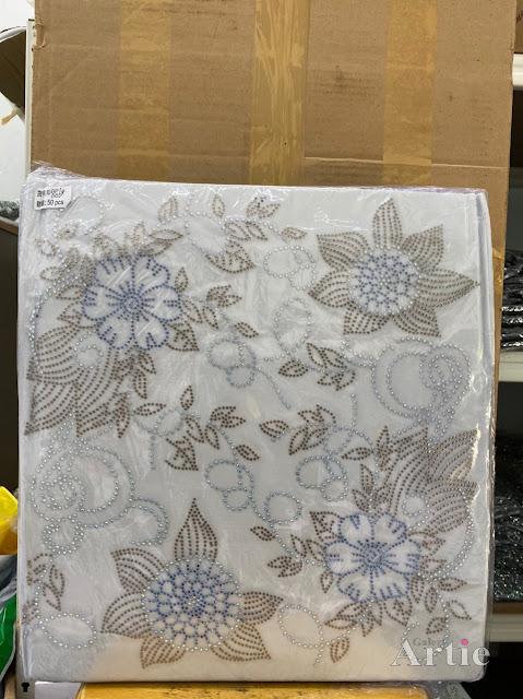 Hotfix stickers dmc rhinestone aplikasi tudung bawal fabrik pakaian 2 bunga raya silver biru silver