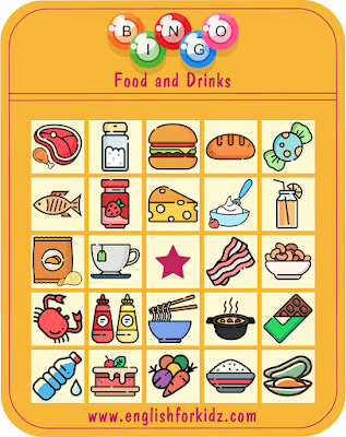 Free printable bingo game to learn food and drinks vocabulary in English