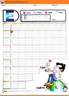 Alphabet E tracing worksheet