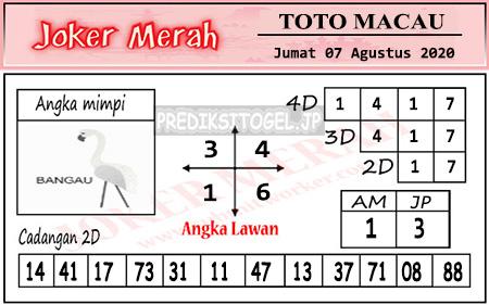 Prediksi Joker Merah Toto Macau Jumat 07 Agustus 2020
