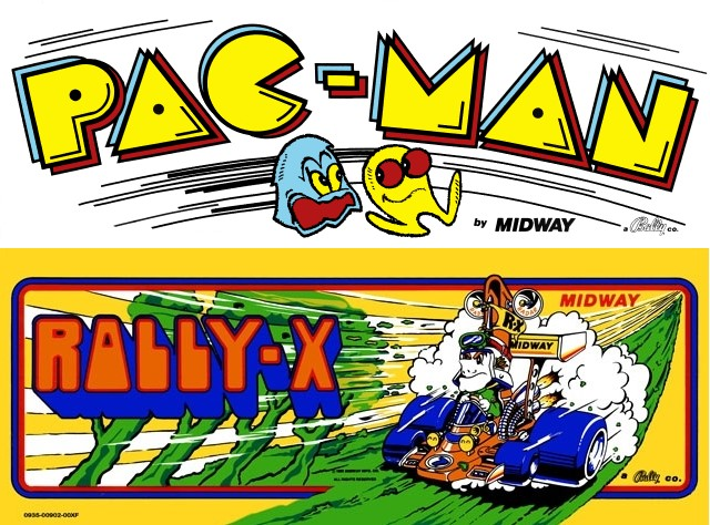 The marquee pictures from the 1980 arcade versions of Pac-Man and Rally-X.